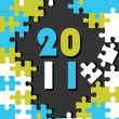 New year concept puzzle vector for 2011 - Stock Vector
