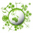 Ecology green planet vector concept background — Stock Vector