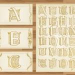 Vintage alphabet illustrations — Stock Vector