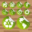 Collection of green planet saving eco-icons — Vector de stock