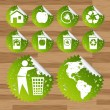Collection of green planet saving eco-icons — Imagen vectorial