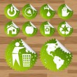 Collection of green planet saving eco-icons — ストックベクタ