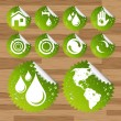Collection of green watter saving eco-icons — Vector de stock