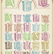 Vintage colorfull alphabet background vector — Stock Vector