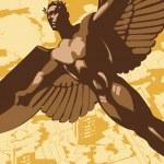 Flying men-eagle vector — Stock Vector