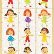 Stock Vector: Group of children set for poster