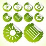 Yeşil güneş enerjisi vektör Eko-simgeler koleksiyonu — Stok Vektör