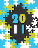 New year concept puzzle vector for 2011 — Stock Vector