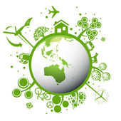 Ecology green planet vector concept background — Vecteur