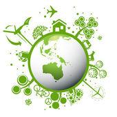 écologie planète verte vecteur concept fond — Vecteur
