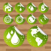 Collection of green watter saving eco-icons — Stock Vector
