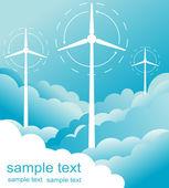 Windmill alternative energy 3d generator blueprint with wind flow vector — Stock Vector