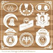 Vintage étiquettes alimentaires, vin, nouaison vector — Vecteur