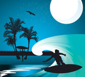 Vector image of a surfer — Stock Vector