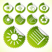 Collection of green solar energy vector eco-icons — Stock Vector