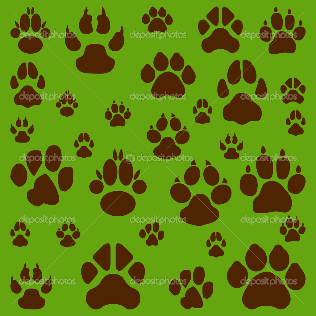 White cats, dogs and other pet footprints  Stock Vector #4449227