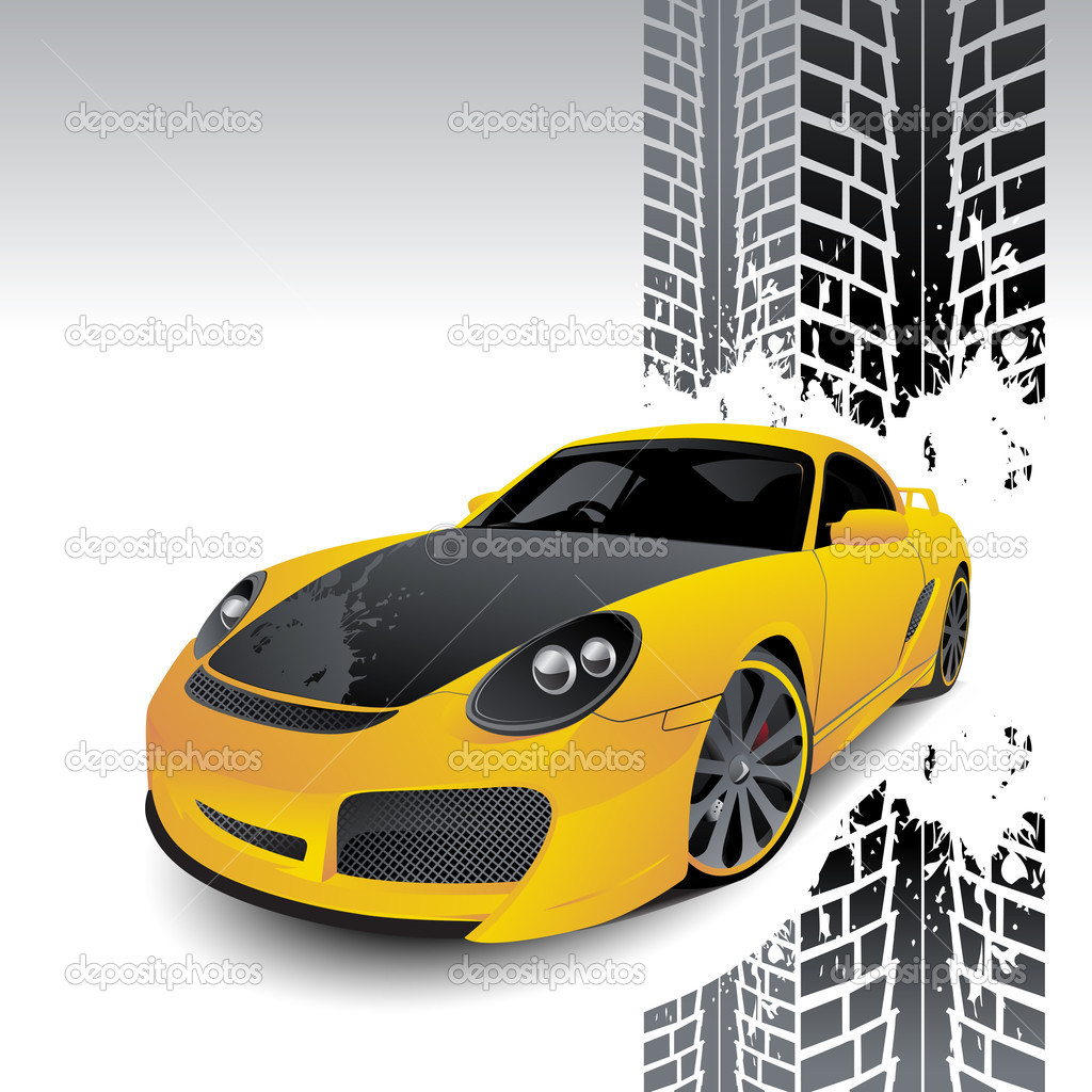 Yellow car of sports type on a