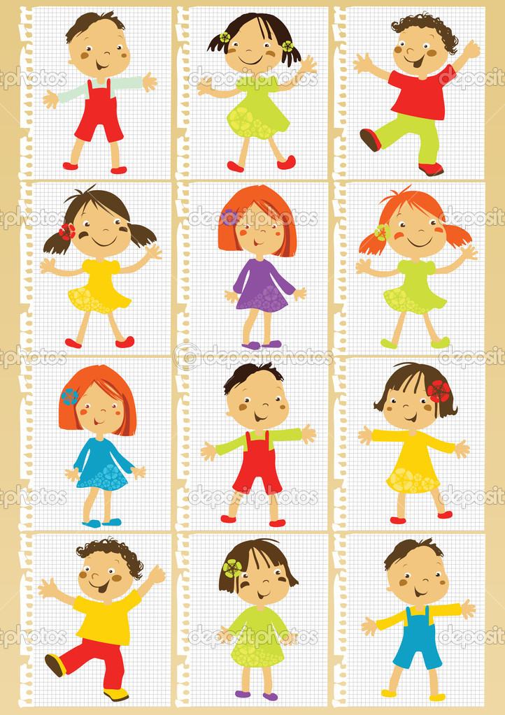 Group of children set for poster or card — Stock Vector #4449358