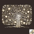 Golden icon tree vector - Stock Vector