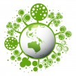Ecology green planet vector concept background - Stok Vektr