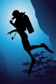 Colorful scuba diver vector illustration — Stock Vector
