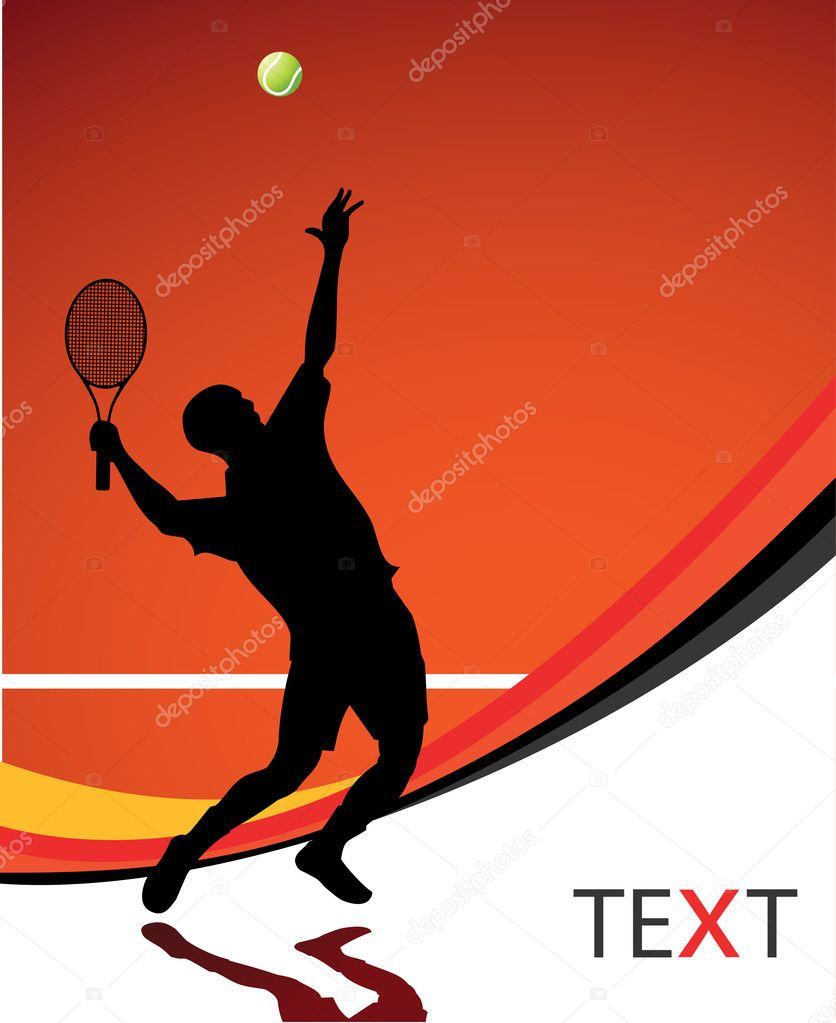 Tennis player silhouette for poster or card — Stock Vector #4478023