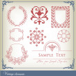 Abstract vintage frame and elements background — Stock Vector