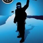 Mountain climber silhouette vector — Stock Vector