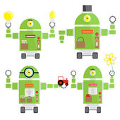 Cute little colorful robots — Stock Vector