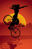 Fixed gear bicycle rider — Stockvector
