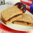 Peanut Butter and Jelly on Wheat Bread — Stok fotoğraf
