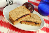 Peanut Butter and Jelly on Wheat Bread — Stock Photo