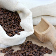Burlap sack of coffee beans with a scoop. — Stock Photo