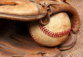 Old Baseball and Mitt — Stock Photo
