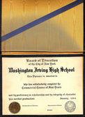 Vintage Washington Irving School Diploma — Stock Photo