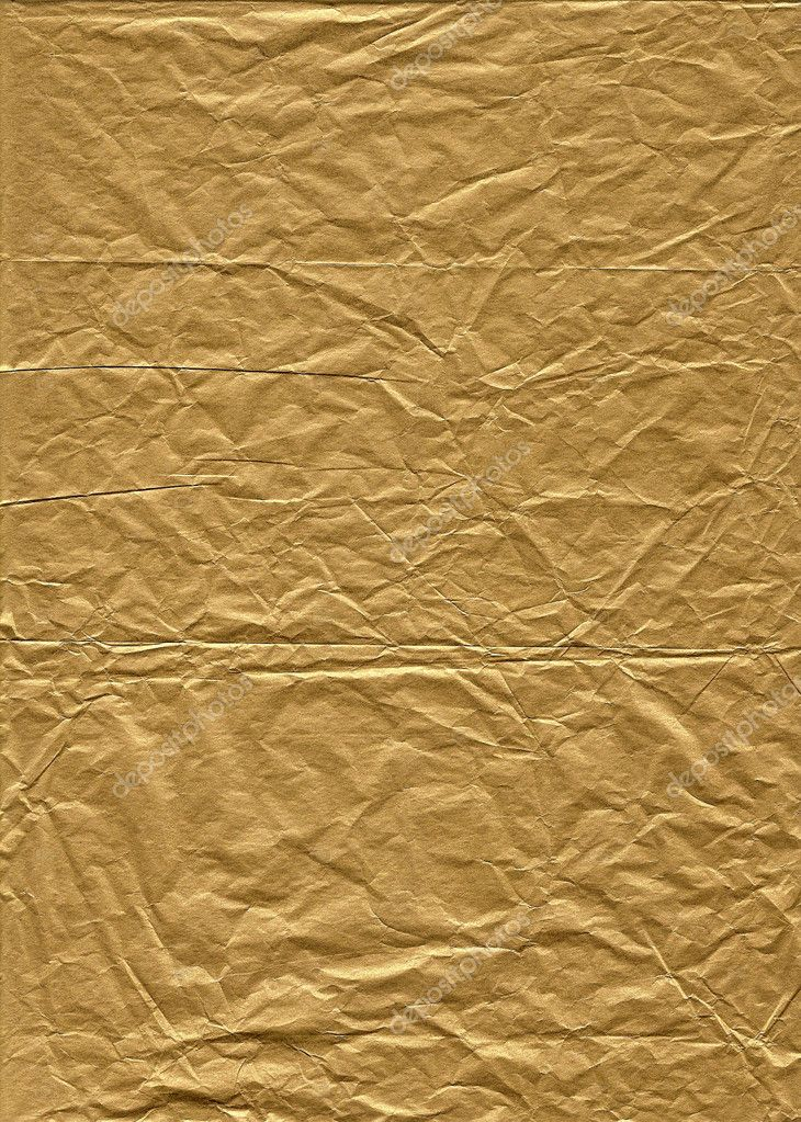Wrinkled gold tissue paper for background use  Stock Photo #5049099