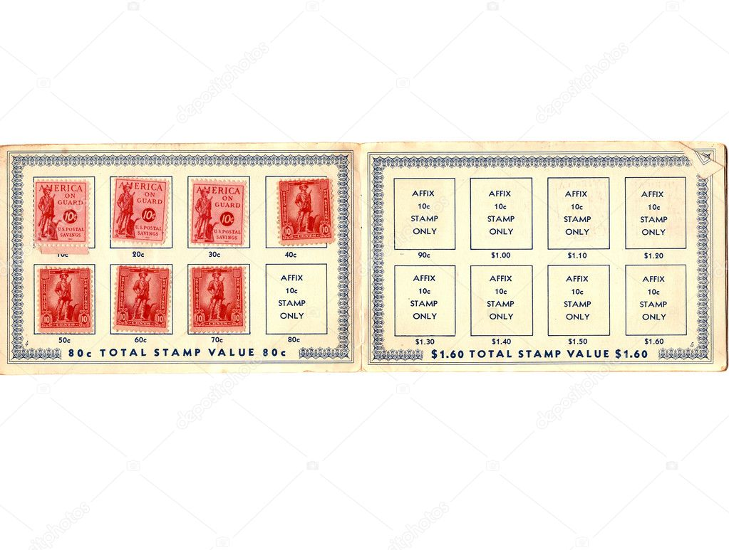 Circa WWII vintage defense bond stamp booklet, on white with copy space. — Stock Photo #5049238