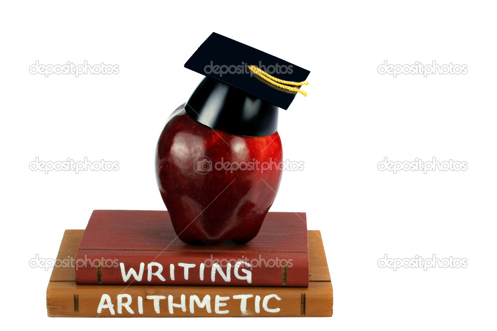 Two textbooks with an apple with a graduation cap on top, isolated on white with copy space. — Stock Photo #5054727