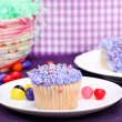 Easter cupcakes and jelly beans — Stock Photo