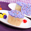 Purple Easter Cupcakes and Jelly Beans — Stock Photo