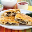 Chicken and Mushroom Quesadilla - Stock Photo