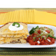 Chicken. Cheese and Mushroom Quesadilla with sour cream. — Stock Photo