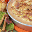 Close up of Apple Kuchen Cake in Autumn Setting — Stock Photo