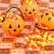 Trick or Treat Pumpkins with Candy — Stock Photo