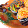 Autumn cupcakes on Pumpkin plate. — Stock Photo #5209123