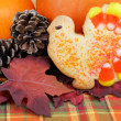 Royalty-Free Stock Photo: Turkey cookie with pumpkins, leaves and pine cones.