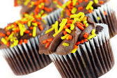 Chocolate cupcakes decorated for autumn. — Stock Photo