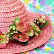 Pink straw Easter bonnet — Stock Photo
