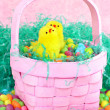 Easter Basket with Chicks and Candy — Stock Photo