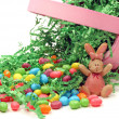 Easter Basket Tipped Over Spilling Candy — Stock Photo #5220990